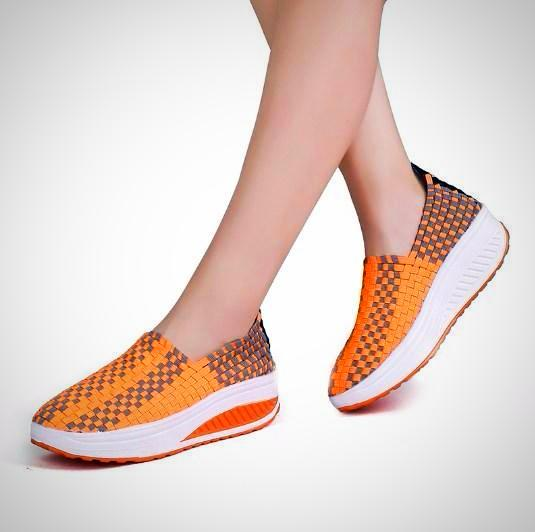 Breathable Women Elastic Woven Flat slip on Platform Shoes - AmeiThings