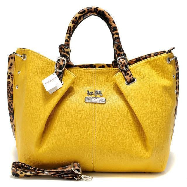 Coach Madison Leopard Large Yellow Satchels ACM - AmeiThings
