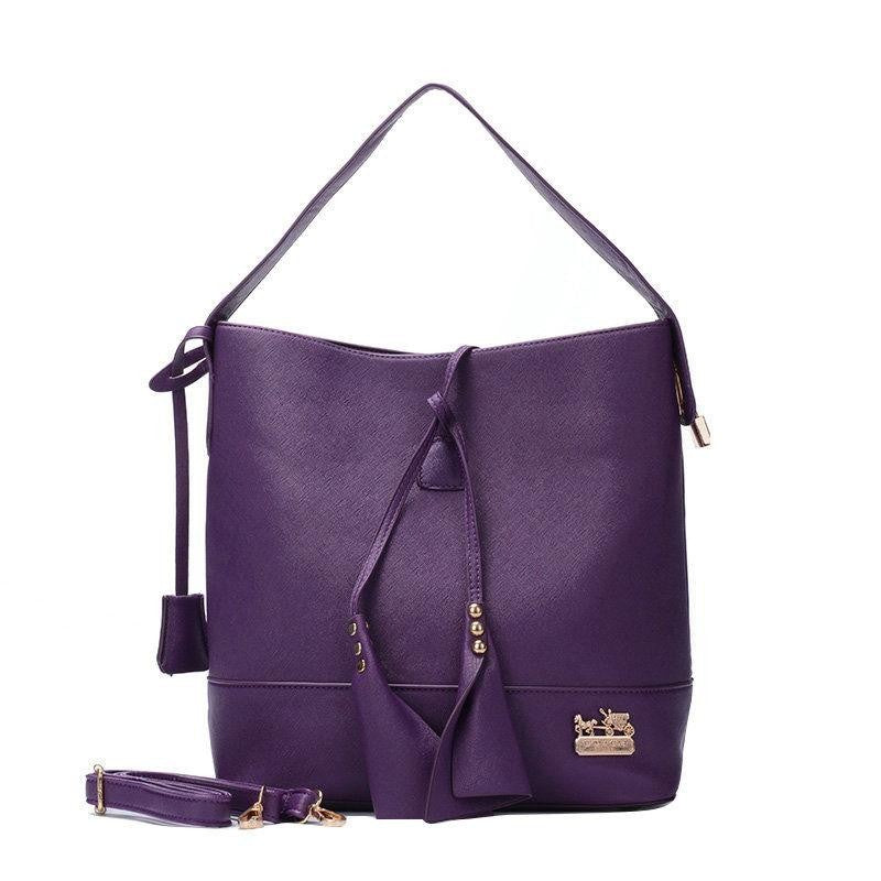 Coach Madison Stud Logo Large Purple Shoulder bag EVZ - AmeiThings