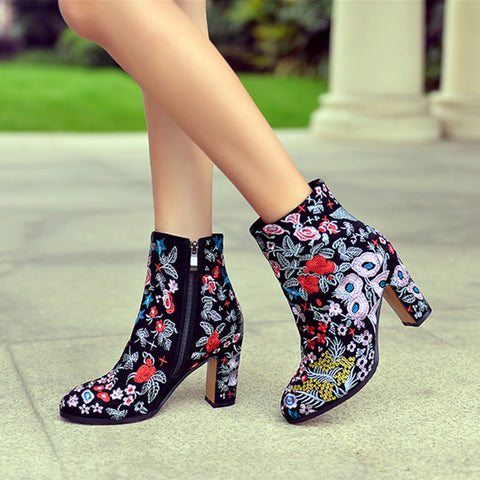 Colorful Embroider Pointed Toe Ankle Boots - AmeiThings