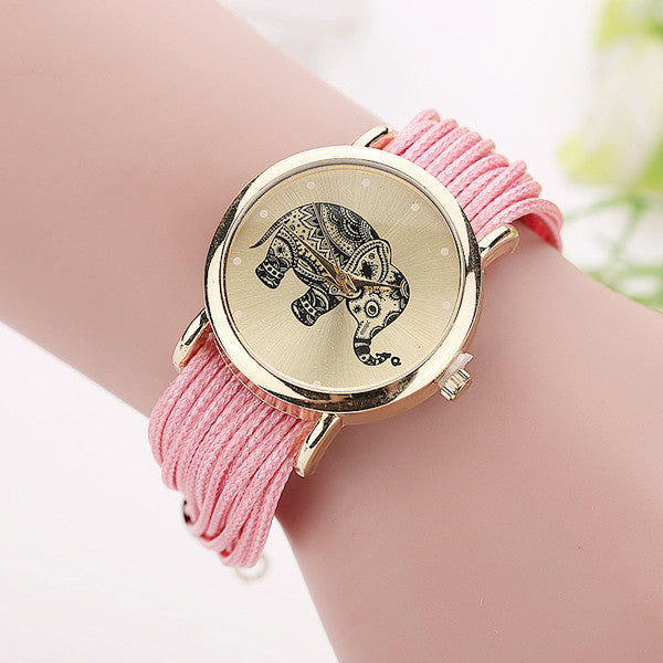 New Women Leather Bracelet Watches Fashion Casual Elephant Wrist Watches Relojes Mujer Relogio Feminino Clock 2015 BW1687