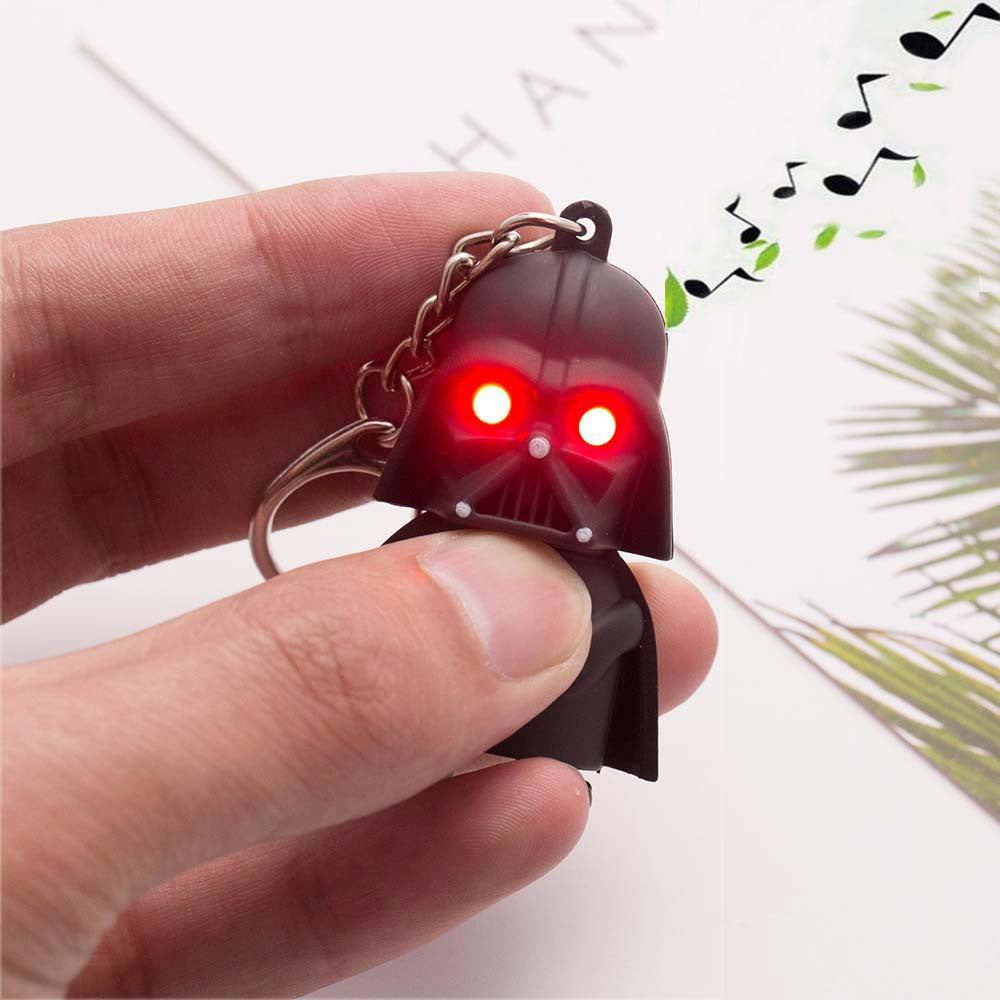 Free Shipping 2016 Star Wars Keyring Light Black Darth Vader Pendant LED KeyChain For Man Gift - AmeiThings