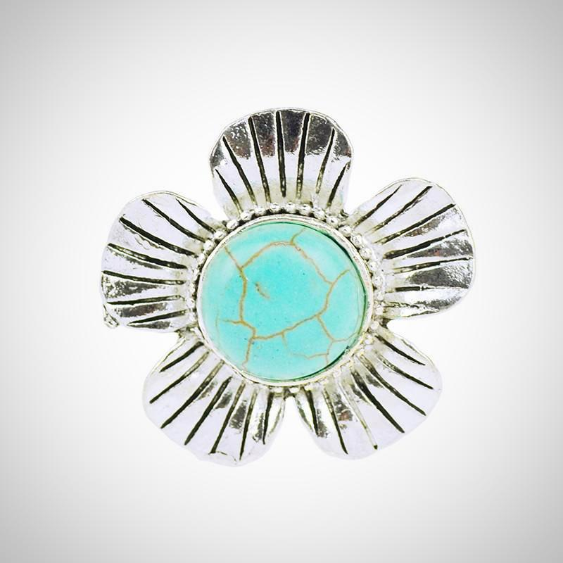 Gem Flowers Turquoise Adjustable Ring - AmeiThings