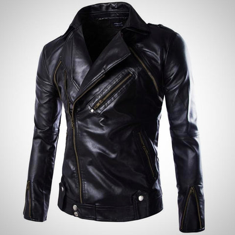 Detachable Men Coat Leather Jacket -Sleeve Removable