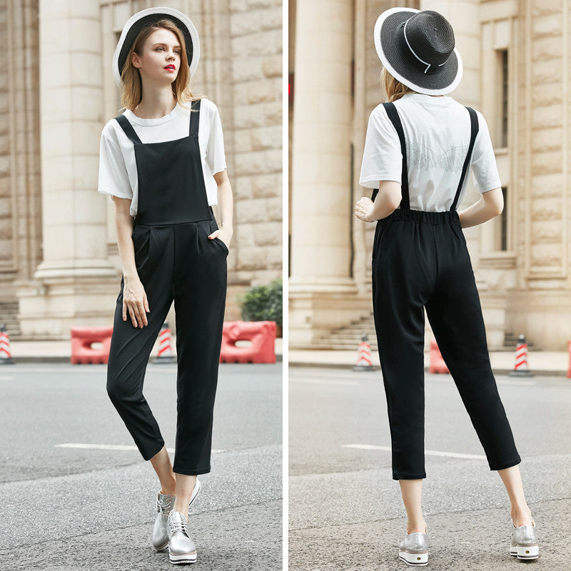 2 Pieces Women's Sets White Tops + Black Rompers Jumpsuit Elastic Waist