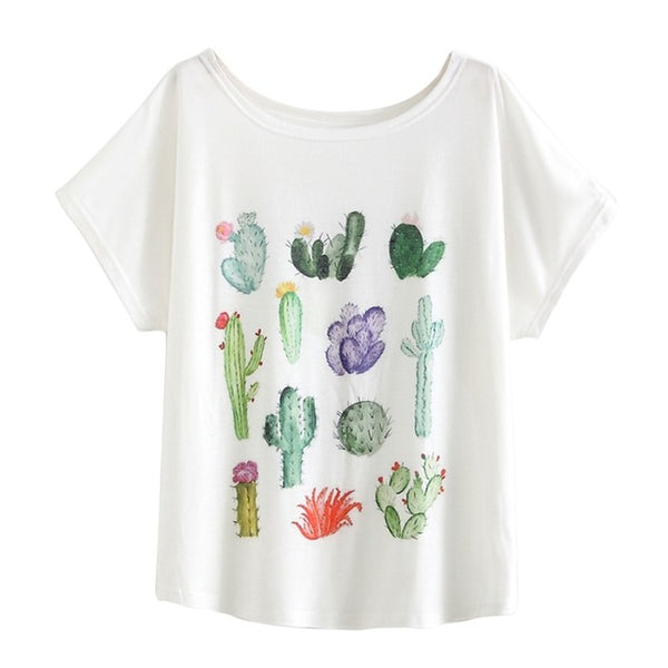 New 2017 Summer Women Desert Cactus Print T Shirts Cute Casual Short Sleeve Girl T-Shirts O Neck Graphic Tops Tees WAIBO BEAR