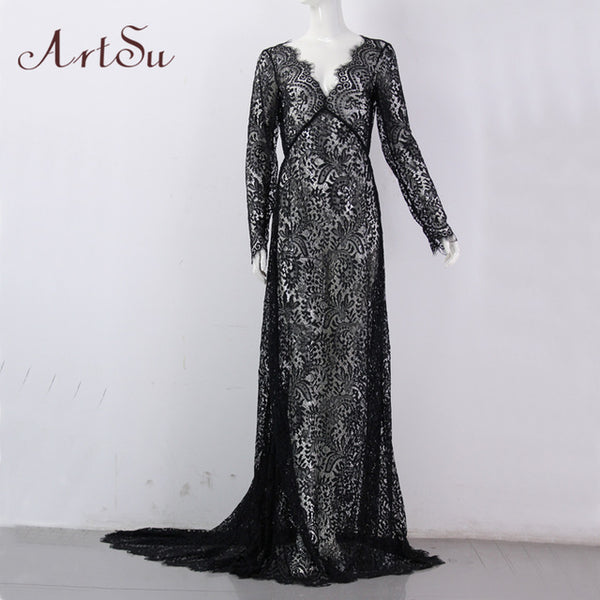 ArtSu Women See Through Floral V-Neck Elegant Lace Long Dress Sexy Maxi Autumn Winter Evening Party Dresses Vestidos ASDR20034 - AmeiThings