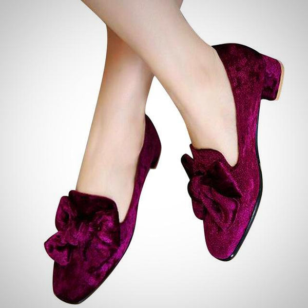 Velvet Bowtie Brogue Shoes