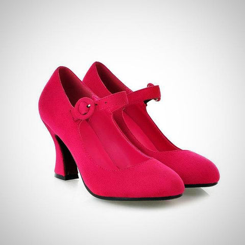 High heels Flock Mary Jane shoes