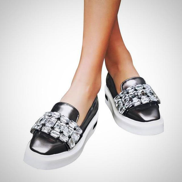 Crystal Loafers Flats - AmeiThings