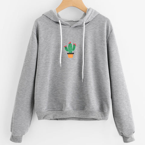 Lovely Cactus Potted Print Hoodie Sweatshirt