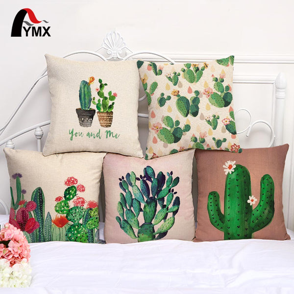 Cute Colorful Cactus Printed Cotton Linen Cushions Cover Car Bedroom Sofa 18'' Pillow Cases Creative Home Decoration Pillowcases - AmeiThings