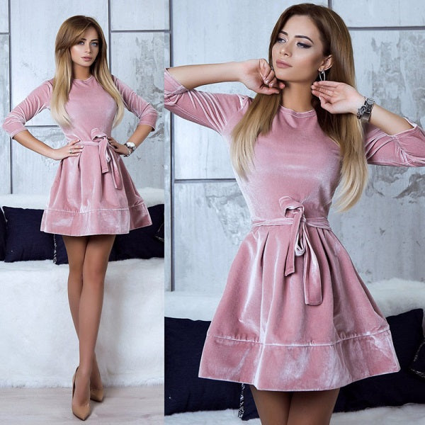 ELSVIOS New Velvet A-line Dress Women Autumn Winter Party Dresses O-Neck Long Sleeved Elegant Dress With Belt Vestido De Festa - AmeiThings