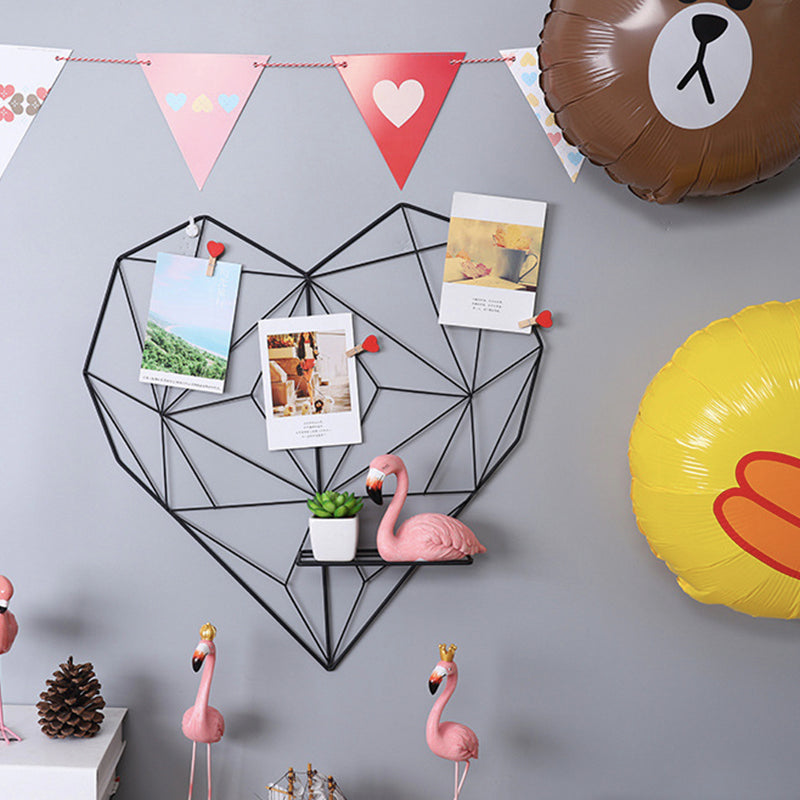 Metal Heart-shaped Photo Grid  Frame Wall Photos Grids Postcards Mesh Frame Home Bedroom DIY Decoration Iron Storage Rack Holder