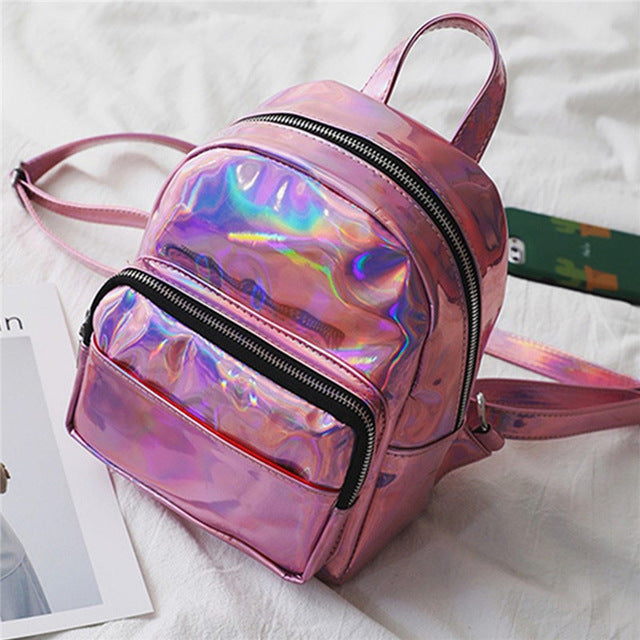 AEQUEEN Women Hologram Laser Backpack Pink Waterproof Female Small Bags Leather Holographic Mochila Mini Backpacks For Teenage - AmeiThings