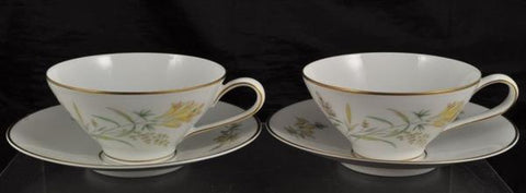 Pair of Cups & Saucer(s) Rosenthal Summer Blossoms Bettina 3179 White Gold Trim