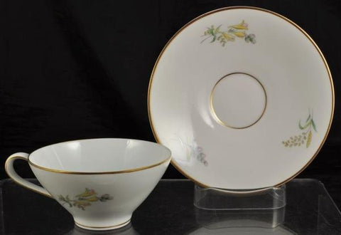 Cup & Saucer Rosenthal Summer Blossoms Bettina 3179 White Gold Trim