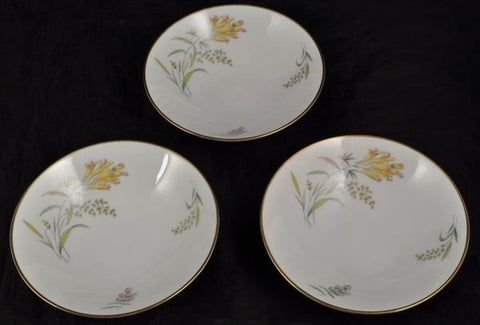 Set of 3 Fruit Bowl(s) Rosenthal Summer Blossoms Bettina 3179 White Gold Trim