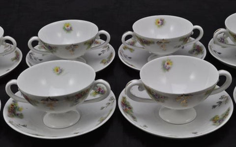 Set of 8 Antique Luster Carl Tielsch Cream Soups and Saucers Late 19th Century