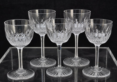 Set of 5 Antique 19th Century Cut Crystal Sherry and Port Glasses