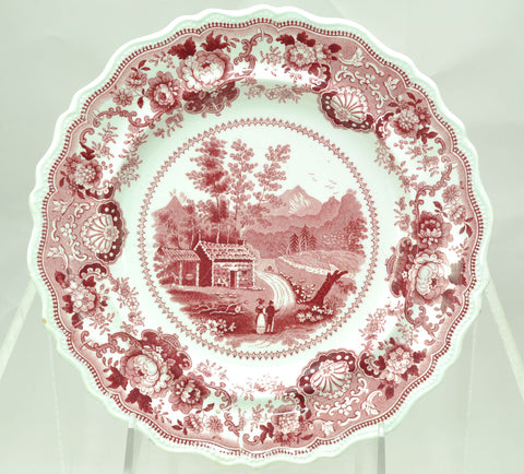 Adams Pink Transfer Historical Staffordshire Plate View Near Conway NH 1830