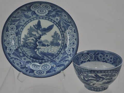 Bird Cartouches Blue Transferware Staffordshire Handleless Cup and Saucer 1810