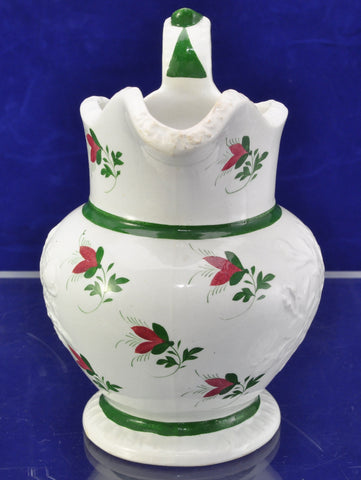 Staffordshire Painted Embossed Flowers Milk Jug 1820