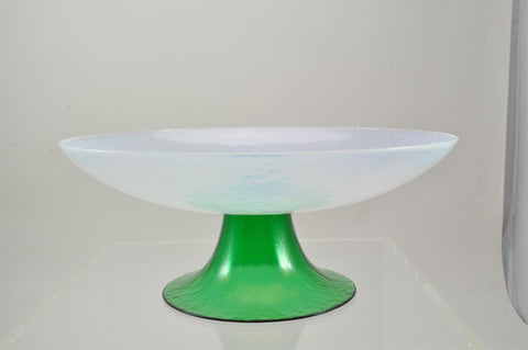 Large Vintage Murano Glass Opalescent White and Green Compote