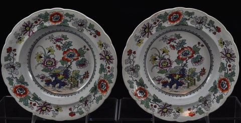 Pair of Masons Japan Fence Imari Stoneware Soup Plates circa 1835