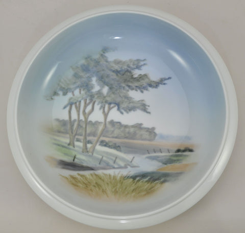 Royal Copenhagen Large Porcelain Hand Painted Landscape Bowl 1966