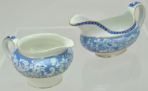 Royal Staffordshire Davenport Blue Gravy Boat and Creamer