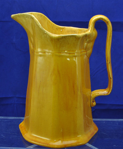 Large Antique Octagonal Yellow Ware Pitcher 1850
