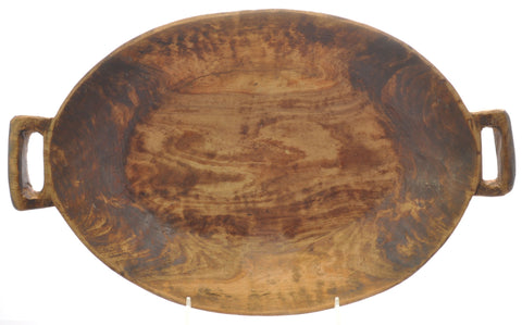 Hand Carved Oval St. Nicholas Olive Wood Serving Bowl with Handles