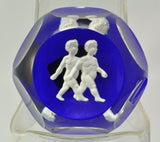 Baccarat Gemini Zodiac Sulfide Dark Blue Background Art Glass Paperweight