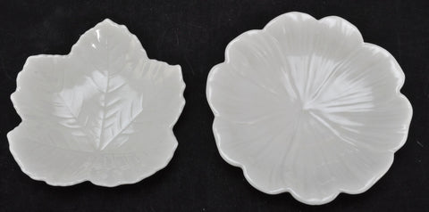 Two Vintage Irish Beige Colored Belleek Leaf Dishes 3rd Green Marks