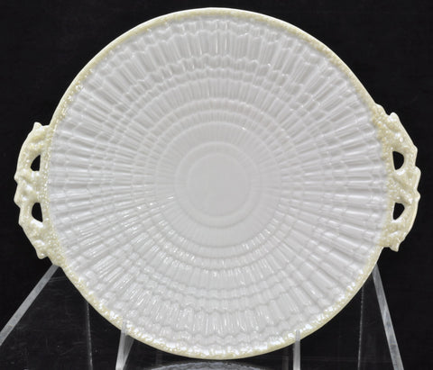 Vintage Irish Belleek Limpet with Yellow Handled Cake Plate 2nd Green Mark