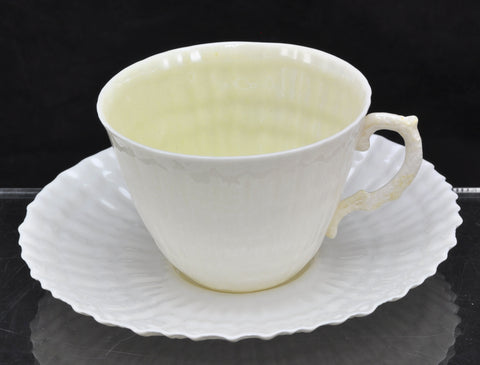 Vintage Irish Belleek Limpet with Yellow Cup and Saucer 3rd Black Mark