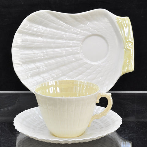Vintage Irish Belleek Limpet with Yellow Cup Saucer Snack Plate Green Marks