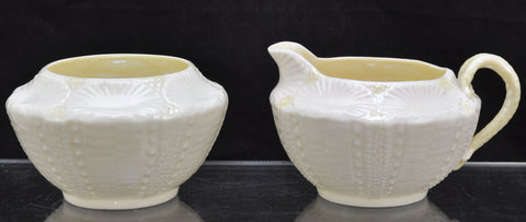 Vintage Irish Belleek Shell with Yellow Creamer and Sugar 2nd Green Mark