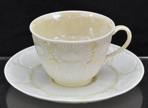 Vintage Irish Belleek Shell with Yellow Cup and Saucer 3rd Black Mark