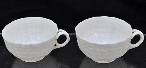 Pair of Antique Irish Belleek Tridacna Tea Cups 2nd Black Marks