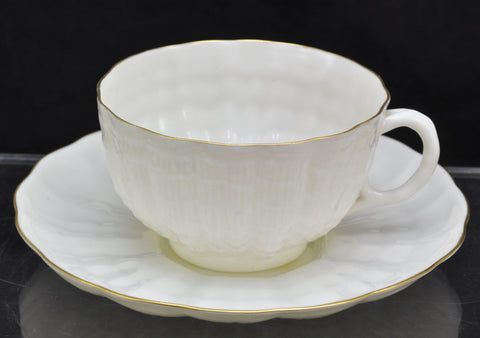 Vintage Irish Belleek Tridacna with Gold Rim Cup and Saucer 3rd Black Mark