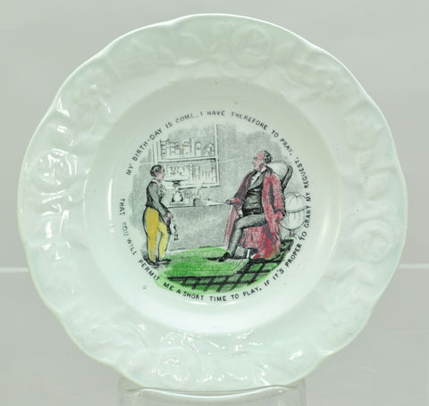 Antique Staffordshire Enameled Transferware Child's Birthday Plate circa 1850