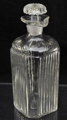 Fine Antique Regency Blown Molded Square Glass Decanter c 1830