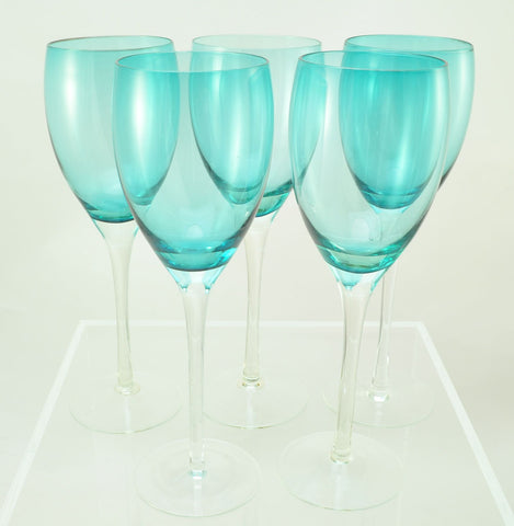 Set of 5 Hand Blown Blue Glass 10 Inch Wine Glasses