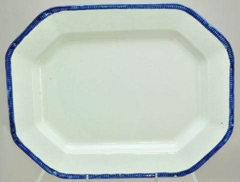 Antique Leeds Octagonal Blue Feather Edge Ironstone 16 Inch Platter circa 1840