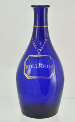 Bristol Blue Holland Blown Flint Glass Decanter Early 19th Century