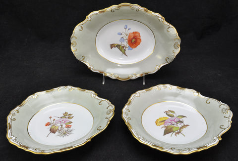 Three Antique Copeland Spode Hand Painted Flower Dessert Dishes 1900