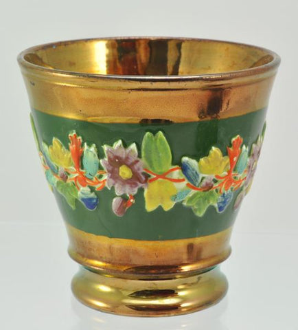 Antique Copper Lustre Beaker with Floral Decoration