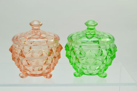 Pair of Jeannette Depression Glass Cubist Powder Boxes Pink and Green 1930